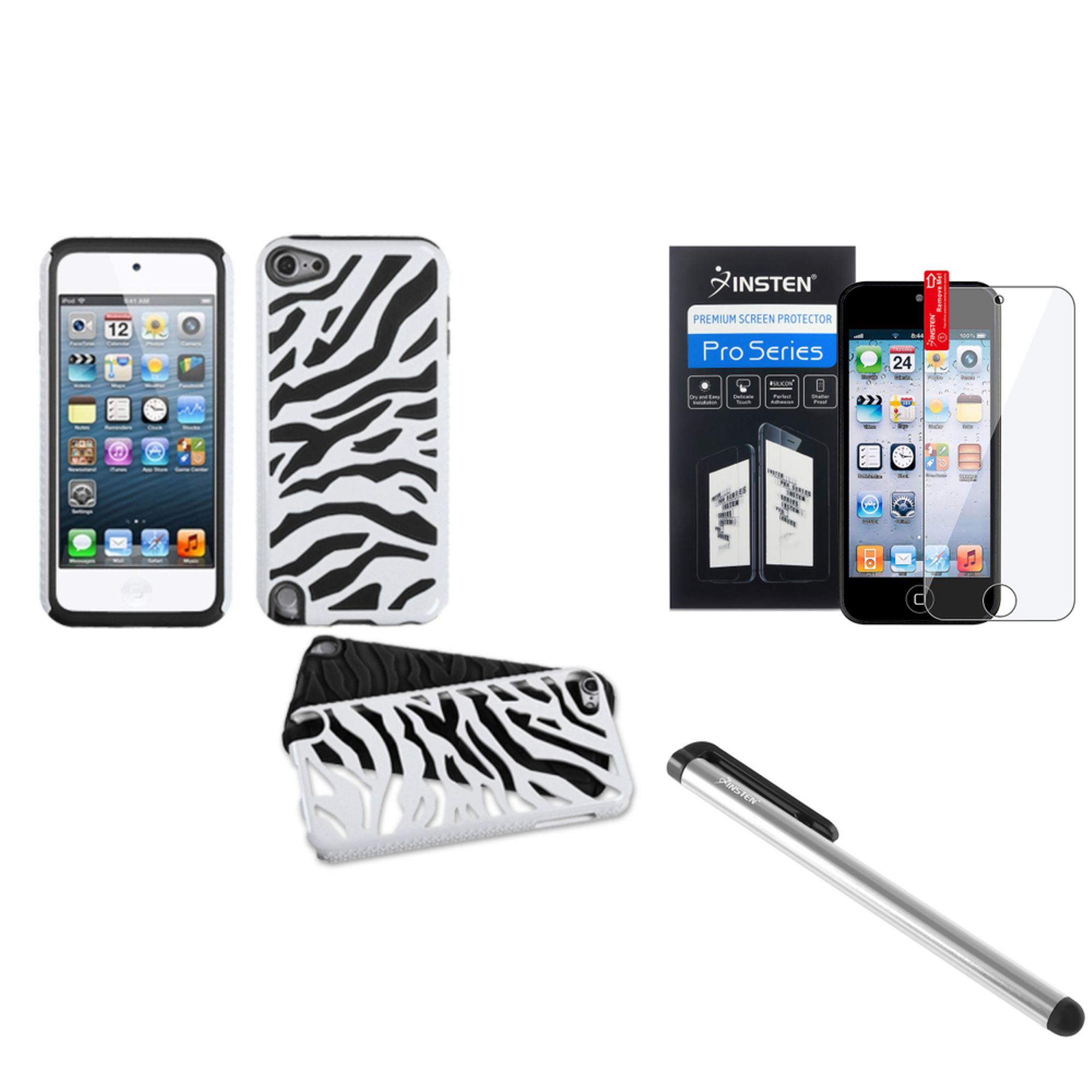 Insten White Black Zebra Hard Soft Silicone Case+LCD Film+Pen For iPod Touch 6G 6 6th 5G 5 5th Gen