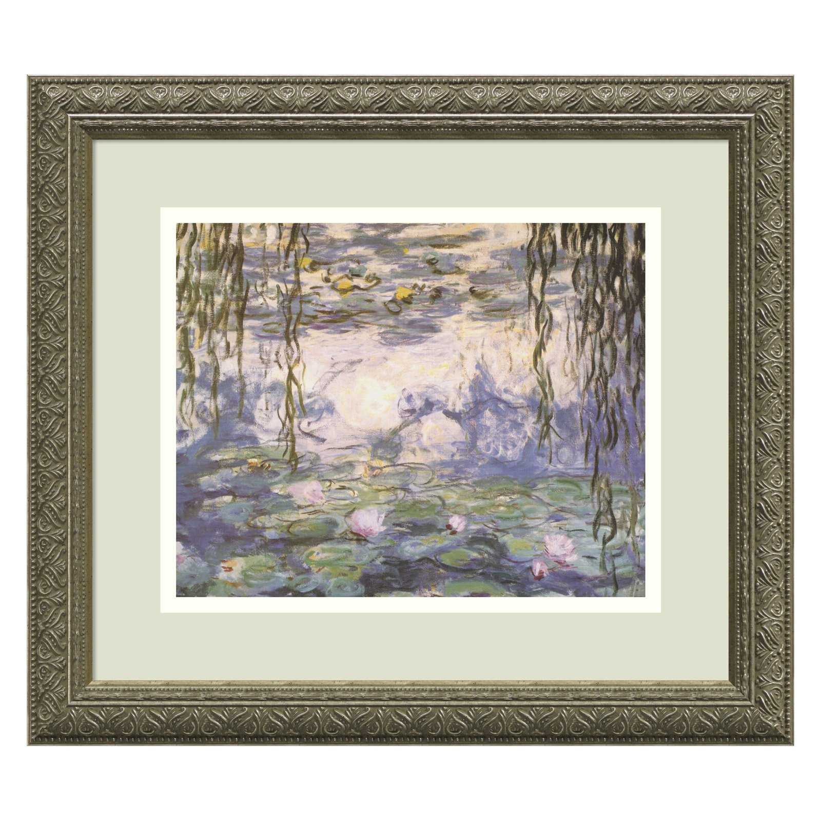 Water Lilies and Willow Branches Framed Wall Art by Claude Monet - 16.12W x 14.12H in.