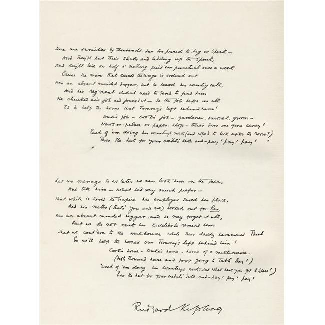 Posterazzi DPI1873062LARGE Sample of Rudyard Kipling Handwriting. The Absent Minded Beggar Stanzas Three Poster Print, 26 x 34 - Large - image 1 of 1