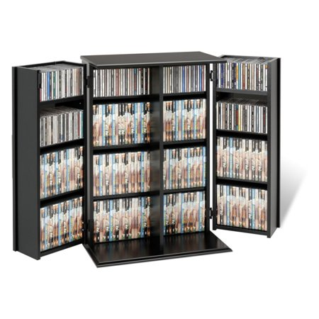 Small Deluxe Media Storage Cabinet with Locking Shaker - Media Cabinets With Glass Doors
