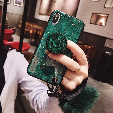 Green Gold Foil Glitter Marble Phone Case For iPhone X XS case