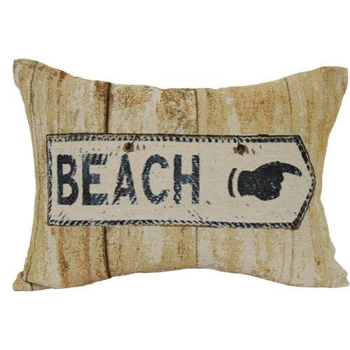 Beach Sign Oblong Decorative Pillow