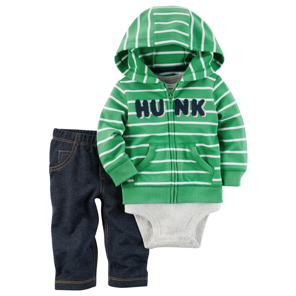 Carters Baby Clothing Outfit Boys 3-Piece Little Jacket Set Hunk Stripe Green
