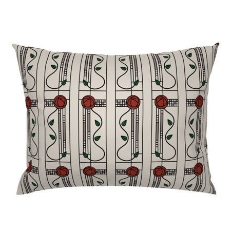 Rose Antique Vintage Glasgow Craftsman Victorian Arts Pillow Sham by Roostery Arroyo Craftsman Glasgow Outdoor Fixture