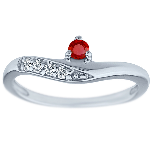 .22 tcw Round Cut Natural Ruby & Diamond Twist Ring Solid .925 Silver