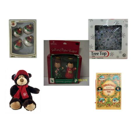 Christmas Fun Gift Bundle [5 Piece] - Designers Studio Glass Ornaments Set of 4 - 19-Light Snowflake Tree Topper - Hallmark Seasons Greetings Salt and Pepper Shaker Set - HugFun Super Soft & Cuddly