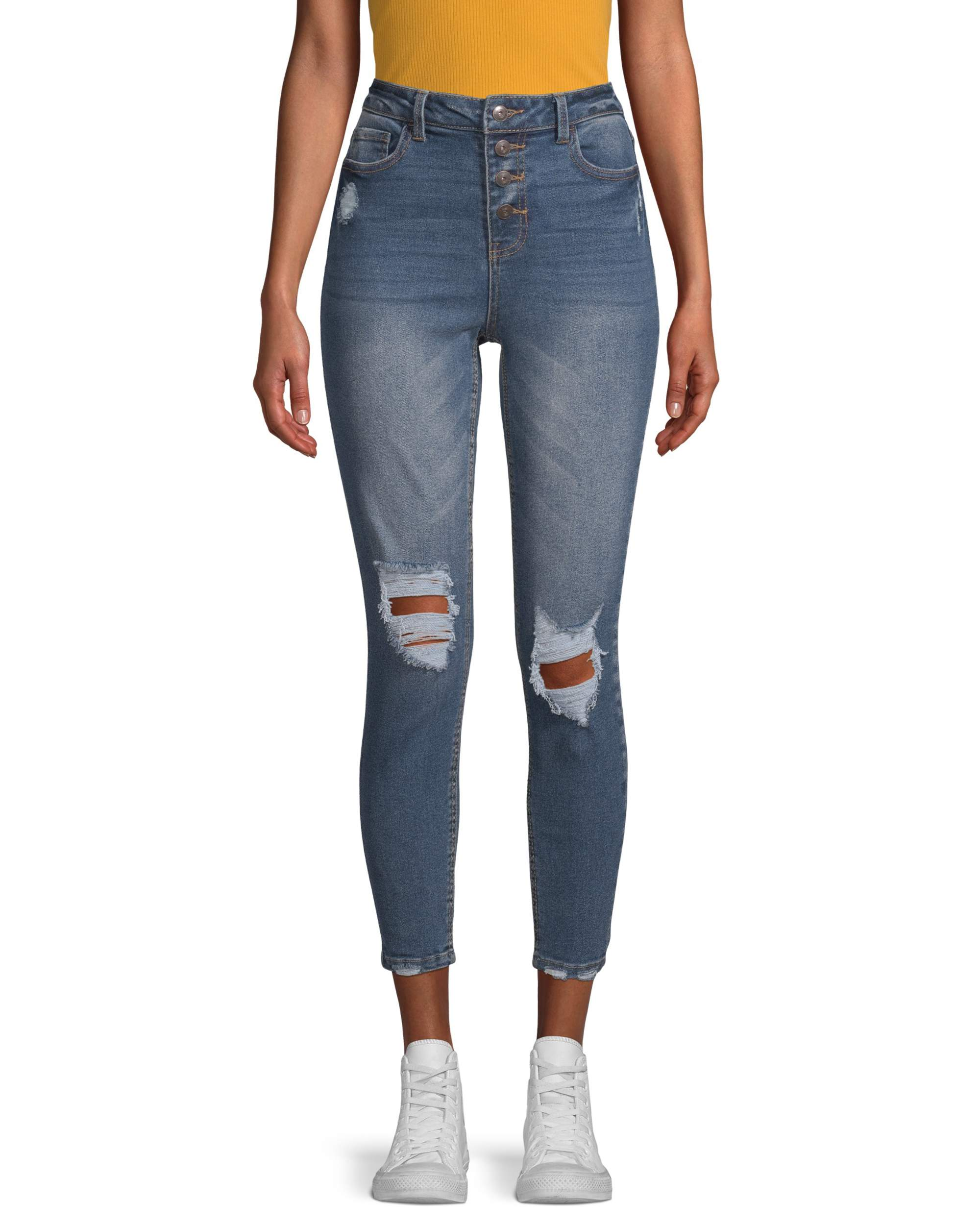 No Boundaries Juniors' Authentic Destructed Skinny Jeans