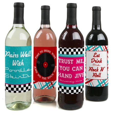 50's Sock Hop - 1950s Rock N Roll Party Decorations for Women and Men - Wine Bottle Label Stickers - Set of - Sock Hops 1950s