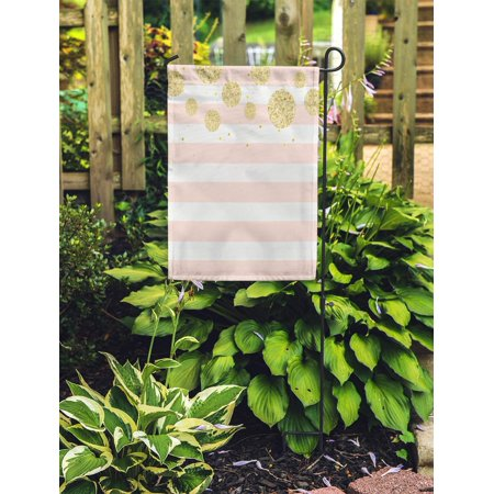 POGLIP Colorful Dot Modern Chic Pink Gold Stripe Pastel Polka Pattern Garden Flag Decorative Flag House Banner 28x40 inch - image 2 de 2