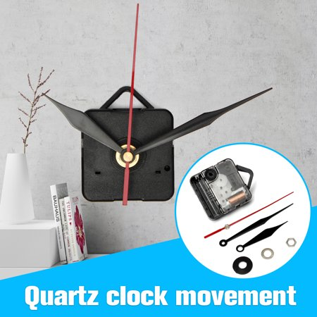 DIY Quartz Wall Clock Movement Mechanism + Black & Red Hand Repair Part Kit Replacement Set ()