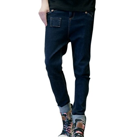 Men's Zip Up Waist Loop Mock Pockets Design Mid Rise Denim Pants Jeans Men's (Size S  /  W31)