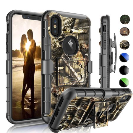 iPhone X Case, iPhone X Holster Belt, iPhone X Hard Cver, Njjex Shock Absorbing Swivel Locking Belt Heavy Kickstand Carrying Tank Armor Camouflage Cases Cover For Apple A1901, A1865 -Leaf
