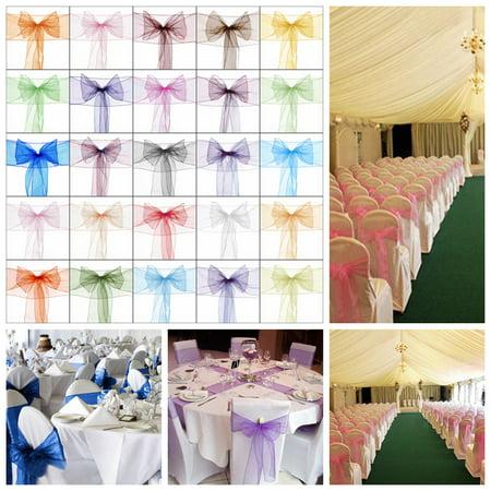 25Pcs/Set Organza Chair Cover Sash Bow Wedding Party Banquet Anniversary Decor 7