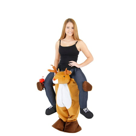 Adult Piggyback Reindeer Ride On Costume](Reindeer Baby Costume)