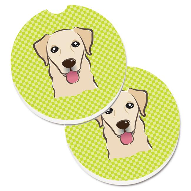 Checkerboard Lime Green Golden Retriever Set of 2 Cup Holder Car Coaster - image 1 de 1