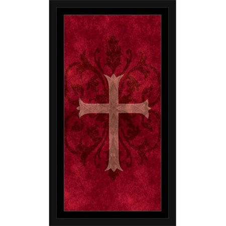 Religious Scroll (Traditional Abstract Cross Ornate Scroll Texture Religious Painting Red & Tan, Framed Canvas Art by Pied Piper Creative )