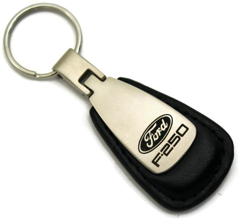Ford F-250 F250 Black Leather Tear Drop Key Chain