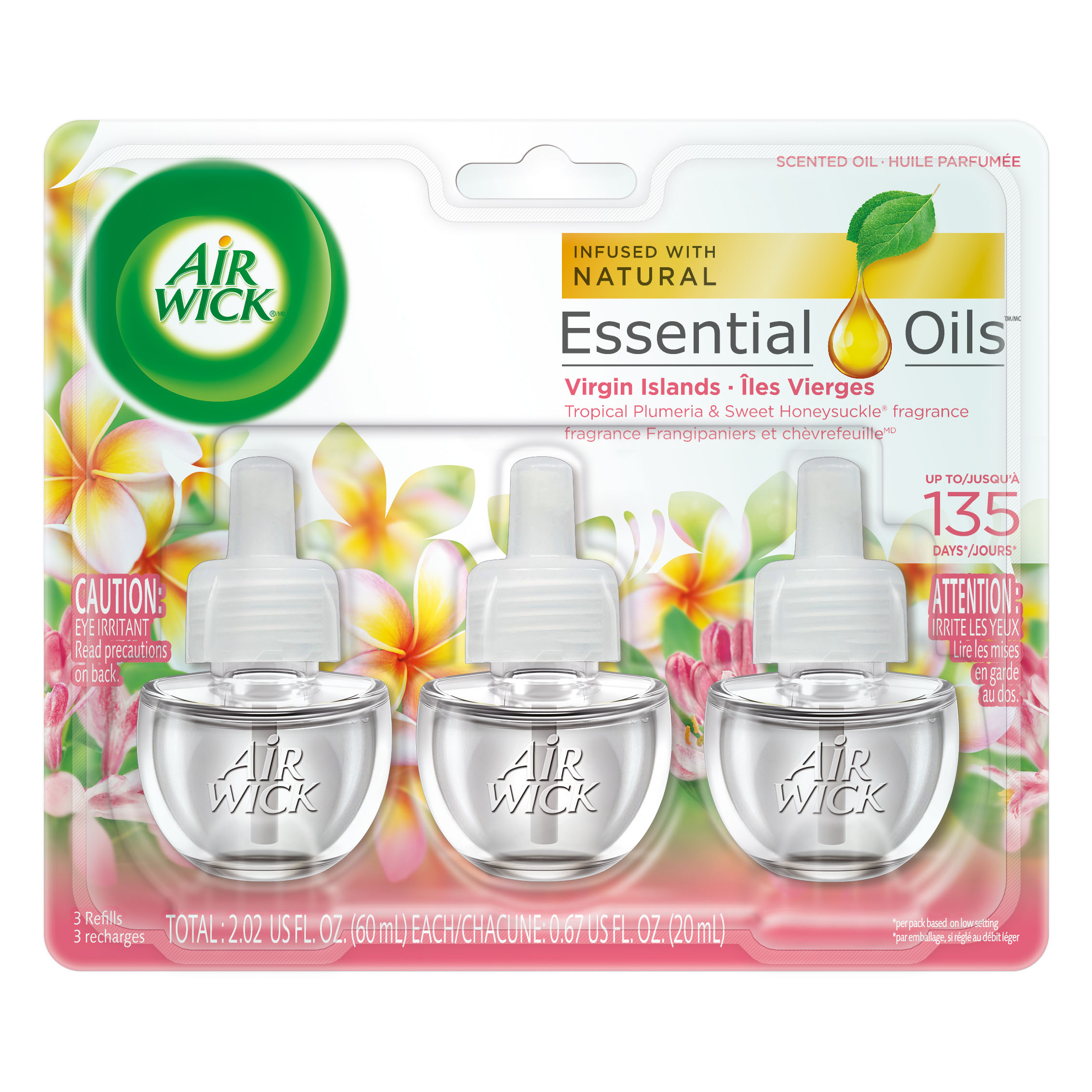 Air Wick Scented Oil 3 Refills, Virgin Islands, (3X0.67oz), Air Freshener