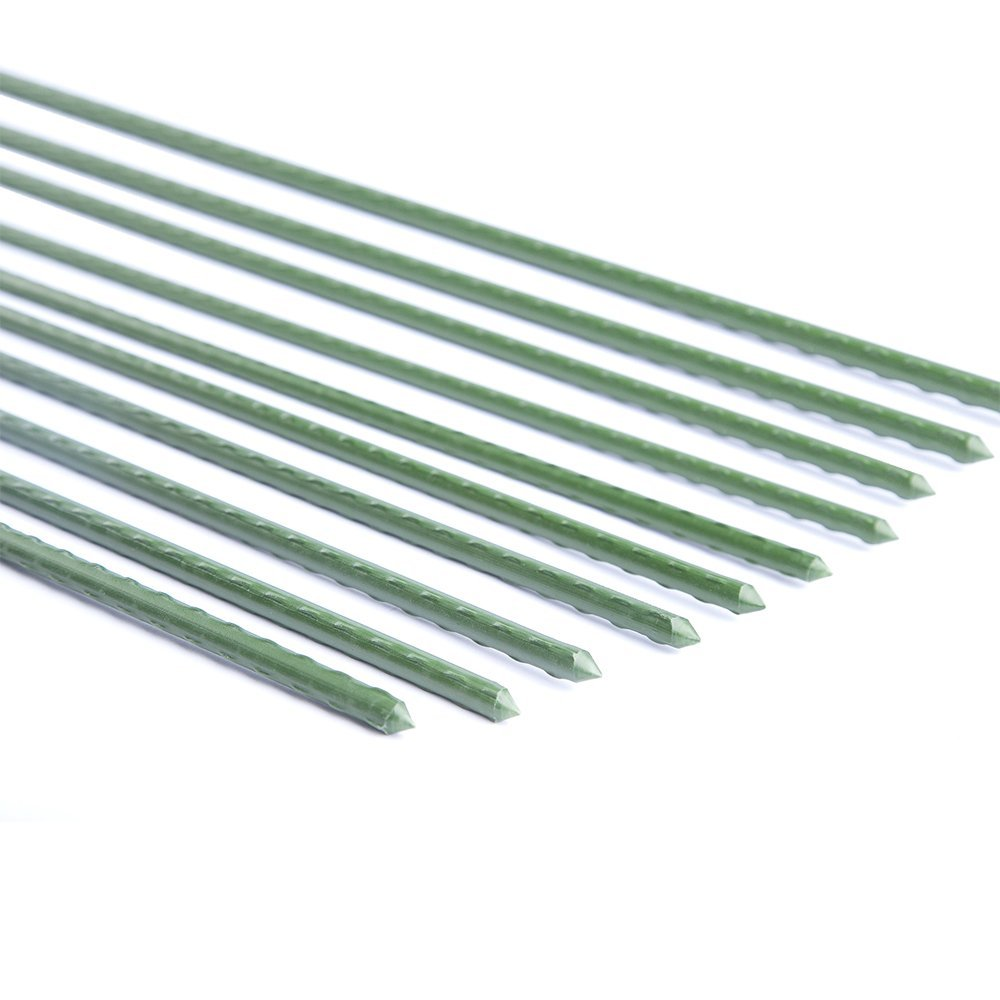 "Garden Stake Polyethylene Coated Garden Plant Stakes For Support 5/16"" Dia,5-feet,10 pack Garden Poles Tree Stake Cucumber Stake Fence Stake Never Rust"