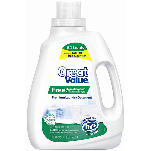 Great Value 2X Concentrated Hypoallergenic Liquid Laundry Detergent, 100 fl.oz.