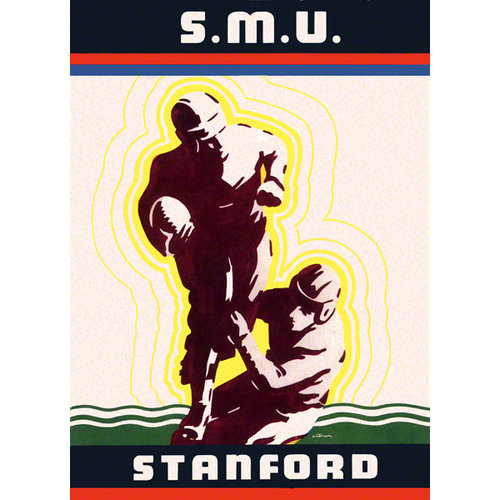 NCAA - 1936 Stanford Cardinal vs. SMU Mustangs 36x48 Canvas Historic Football Poster
