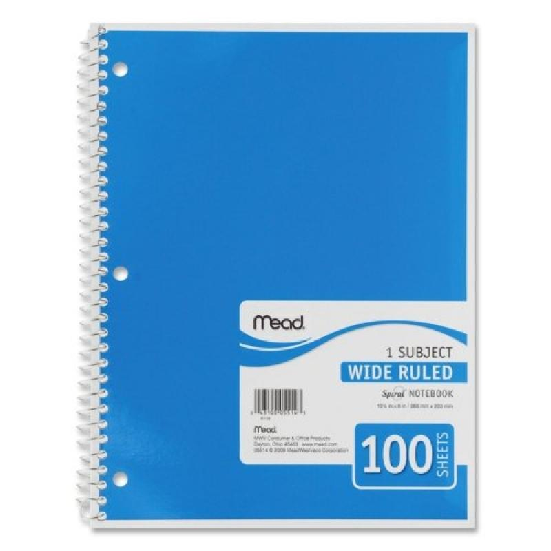 "Mead One Subject Notebook - 100 Sheet - Wide Ruled - 8"" x 10.50"" - 1 Each - White Paper"