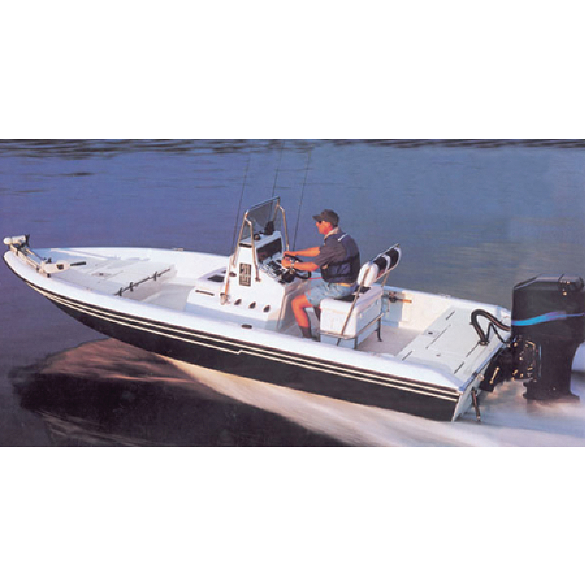 Carver Styled-to-Fit Cover for V-Hull Center Console Shallow Draft Fishing Boat, Haze Gray