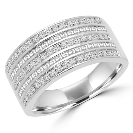 MDR140109-8.5 0.63 CTW Round & Baguette Diamond 5 Row Anniversary Cocktail Ring in 14K White Gold - Size 8.5 ()