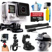 GoPro HERO4 Silver Edition 4K Action Camera with 16GB MicroSD Card, Selfie Stick, Bike Handlebar Mount, Car Windshield Suction Cup, Helmet Strap, Floating Bobber, Mini Tripod, Cleaning Kit (CHDHY-401)