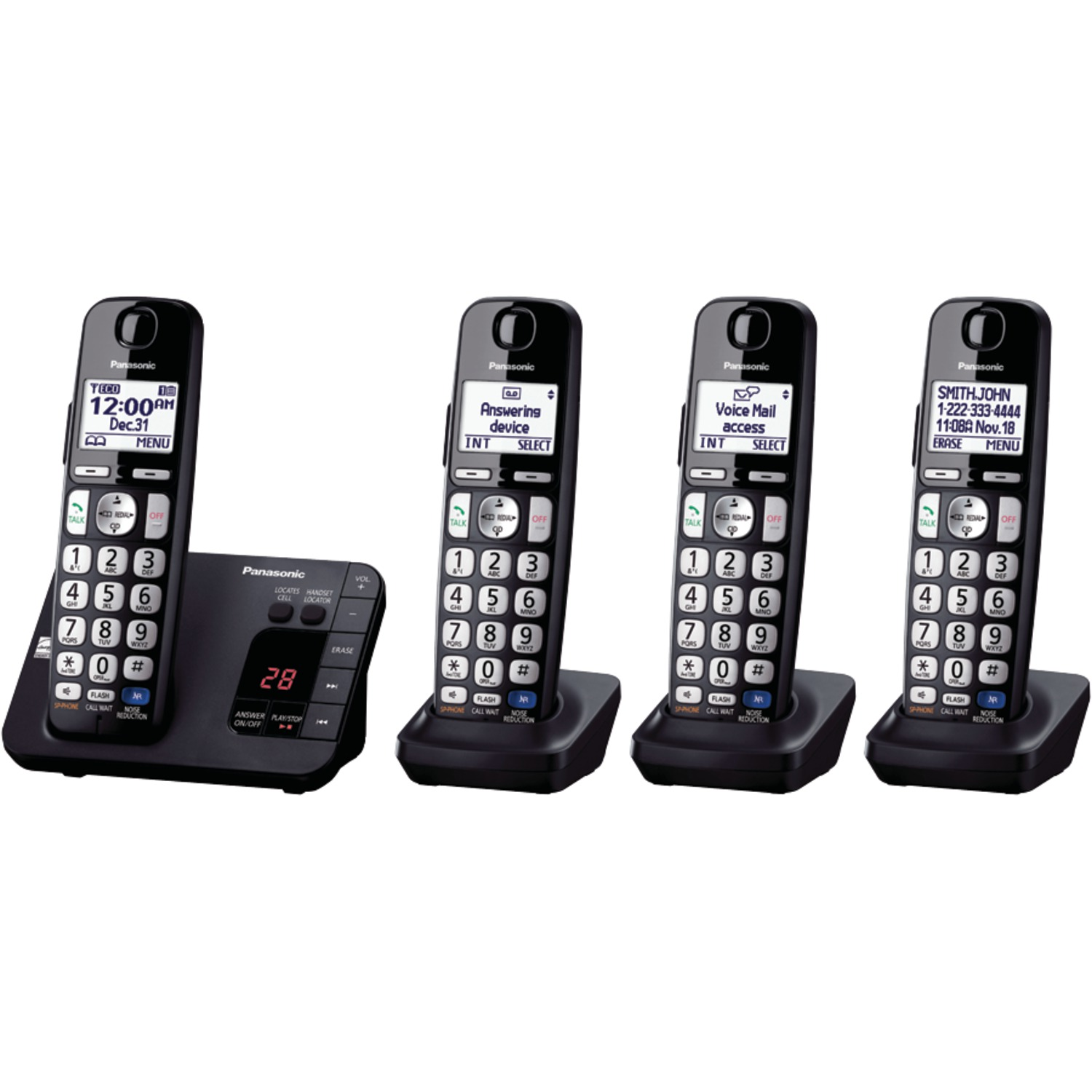 Panasonic Expandable Cordless Phone with Large Keypad, 4 Handsets
