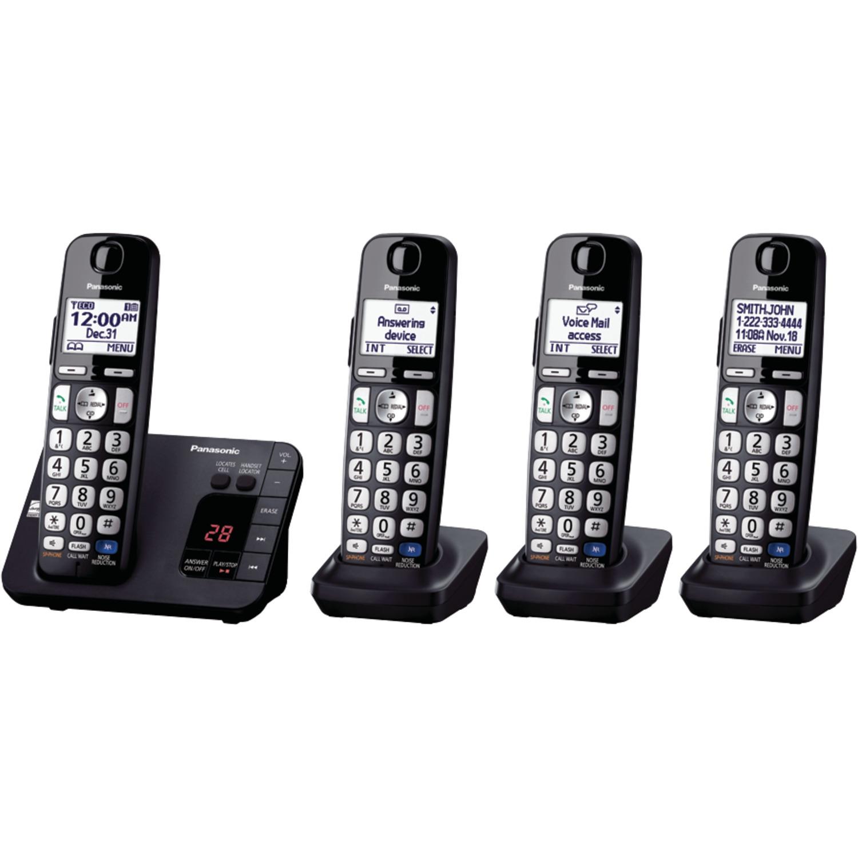 PANASONIC KX-TGE234B DECT 6.0 Plus Expandable Digital Cordless Answering System (4-Handset System)
