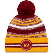 Washington Football Team New Era Youth 2021 NFL Sideline Sport Pom Cuffed Knit Hat - Burgundy/Gold - OSFA