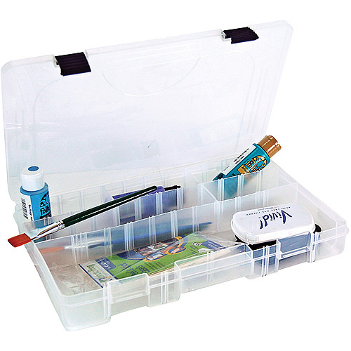 "Creative Options Pro Latch Utility Box 14""x9.125""x2"", Clear W/Black Latch, 4-27 Compartments"