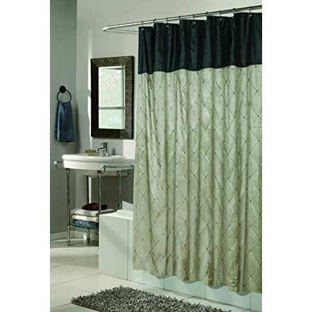 Royal Bath Diamond Design Balmoral Fabric Shower Curtain In Black Brown Size  70  X 72