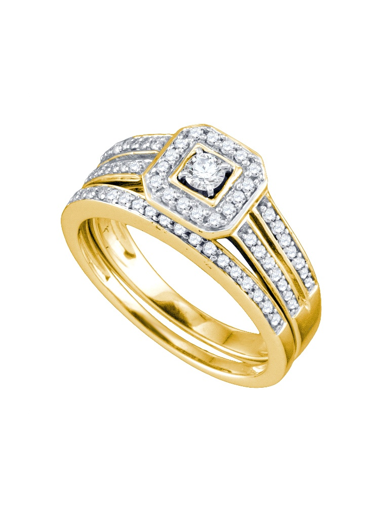 14kt Yellow Gold Womens Round Diamond Square Halo Bridal Wedding Engagement Ring Band Set (.50 cttw.) by Mia Diamonds