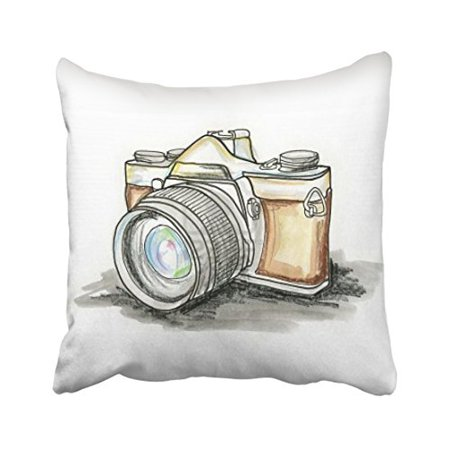 WinHome Watercolor Vintage Camera Drawing Pillow Cover With Hidden Zipper Decor Cushion Two Sides 20x20