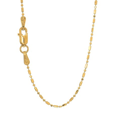 "14k Solid Gold 1mm Bar Bead Ball Chain Necklace 16"" 18"" 20"""