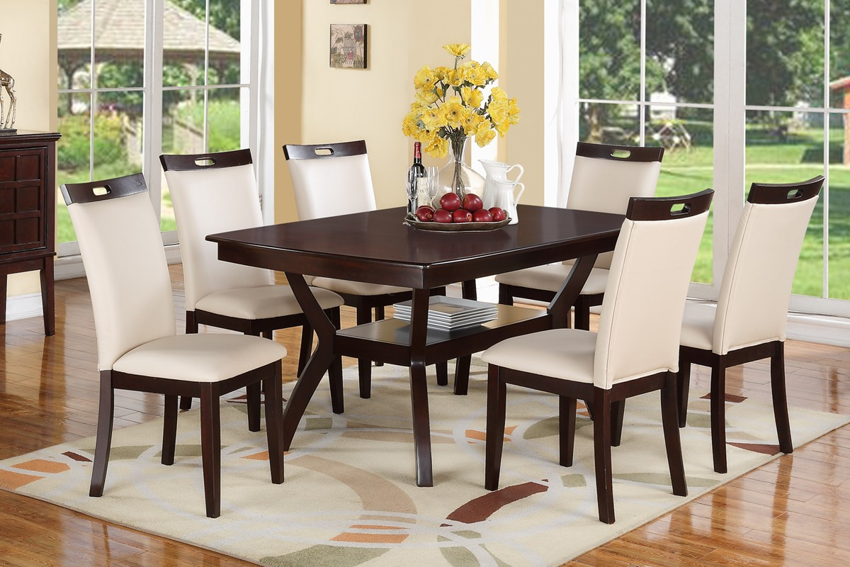 Parson Style 6 Side Chairs Unique Dining Table 7pcs Dining Set .