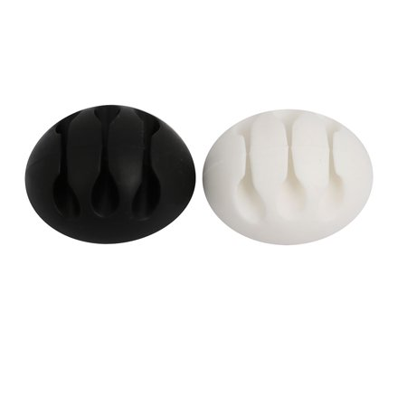 TPR Self-Adhesive 3 Channel Cable Clip Cord Organizer White Black 10pcs - image 2 of 4