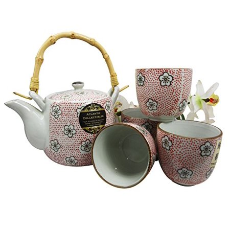 Atlantic Collectibles Anese Cherry Blossom 20oz Ceramic Tea Pot And Cups Set Serves 4 People Red Polkadots