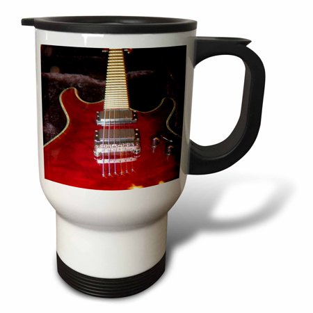 3dRose Upclose Red Guitar, Travel Mug, 14oz, Stainless Steel