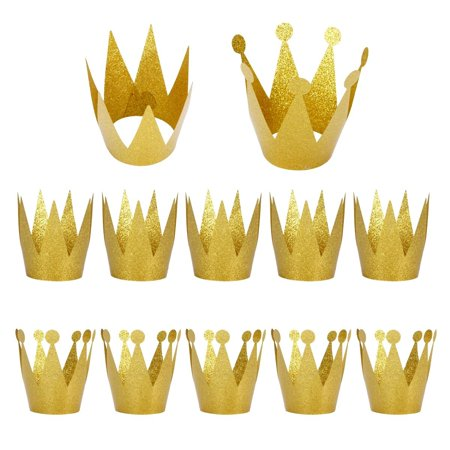 Birthday Party Hats 12PCS Gold Crown Cap For Kids Decoration