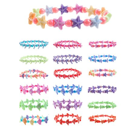Frogsac Cute Beads Bracelets With Happy & Positive Message Words to Inspire you - Dolphin, Angelfish, Star - 18 Pcs Great Party Favors