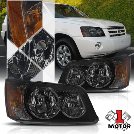 - Black Housing Smoke Lens Headlight Amber Turn Signal for 01-03 Toyota Highlander 02