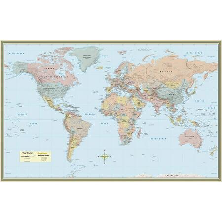 World Map Laminated Poster 50 X 32
