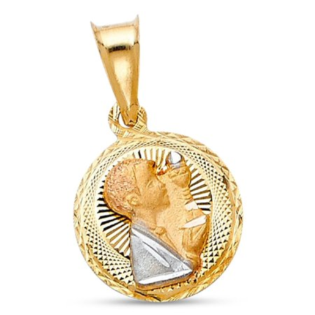 14k Yellow White Rose Gold First Communion Pendant Religious Coin Charm Diamond Cut Solid 15 x 12 mm 14k Gold Communion Charm