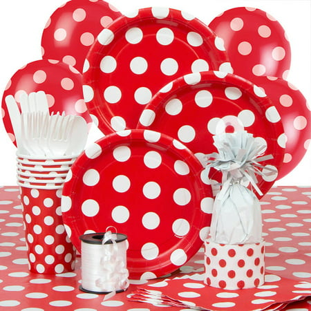 Red Polka Dot Party Supplies Kit for 8 - Polka Dot Party Ideas