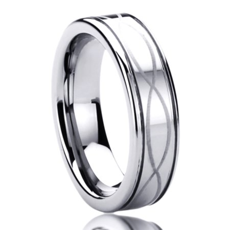 Men Women 6MM Titanium Comfort Fit Wedding Band Ring Laser Etched Infinity Patterned Ring (5 to 10)