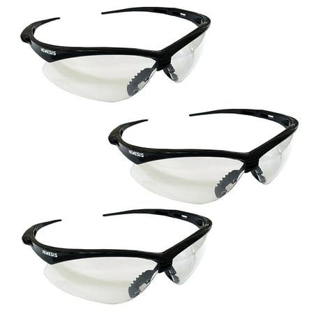 3 Pair Jackson Nemesis 3000354 Safety Glasses Black Frame Clear Lens Kimberly Clark 25676