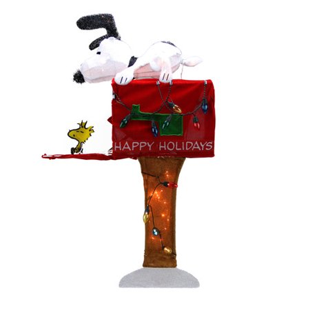 northlight seasonal peanuts pre lit peanuts snoopy with mailbox animated christmas yard art decoration